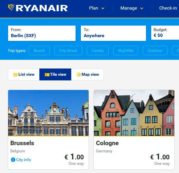 Авиабилет Ryanair за €1