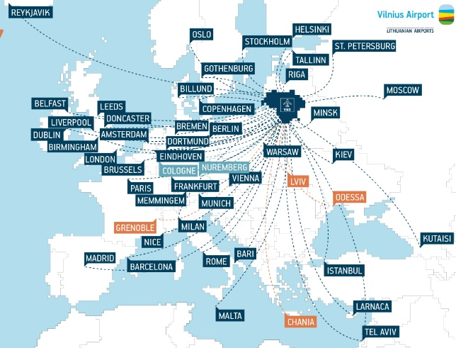Карта перелетов из Вильнюса