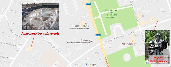 Переяслав-Хмельницкий. Карта: музей Кобзарства, археологический музей